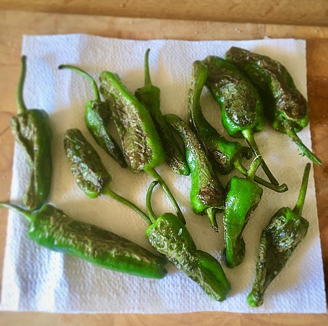 Pimientos de padrón: heerlijk milde groene pepertjes op z'n Spaans. Even grillen, zout erop en klaar voor de borrel!